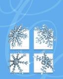 Flocos azuis da neve Imagem de Stock
