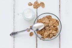 Flocos de farelo - composição saudável do café da manhã Imagem de Stock