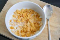 Flocos de milho com leite Foto de Stock Royalty Free