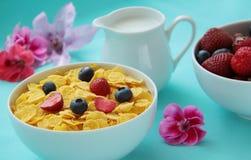 Flocos de milho do café da manhã, leite e frutos frescos como mirtilos e morangos no fundo azul Feche acima da vista Fotos de Stock Royalty Free