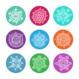 Flocos de neve ajustados Fotos de Stock Royalty Free