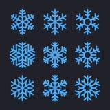 Flocos de neve ajustados para o projeto do inverno do Natal Vetor Imagens de Stock