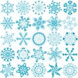 Flocos de neve azuis da coleção grande (vetor) Imagens de Stock Royalty Free