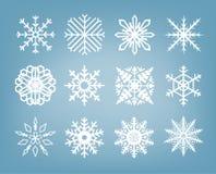 Flocos de neve bonitos ajustados - série do inverno Imagem de Stock