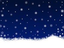 Flocos de neve brancos na obscuridade - azul ilustração stock