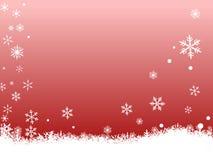 Flocos de neve brancos no vermelho Fotos de Stock