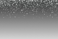 Flocos de neve brancos de queda isolados no fundo transparente Sno ilustração stock