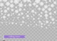 Flocos de neve brancos de queda no fundo escuro transparente Elemento do projeto da folha de prova Ano novo e feriados do Natal ilustração do vetor