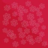 Flocos de neve claros em um fundo vermelho Imagem de Stock Royalty Free