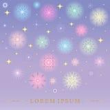 Flocos de neve coloridos Shinning de queda Estrelas e flocos de neve cintilantes dourados Aperfeiçoe para o projeto do Natal e do ilustração royalty free