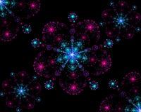 Flocos de neve coloridos simétricos do fractal abstrato ilustração royalty free