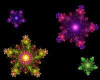 Flocos de neve coloridos simétricos do fractal abstrato Fotografia de Stock Royalty Free