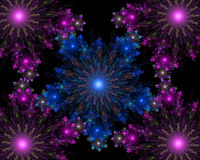 Flocos de neve coloridos simétricos do fractal abstrato Fotos de Stock