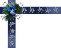 Flocos de neve da beira do feriado em fitas azuis