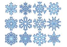 Flocos de neve de cristal azuis Fotografia de Stock Royalty Free