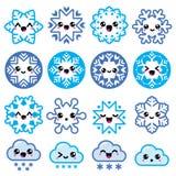 Flocos de neve de Kawaii, nuvens com neve - Natal, ícones do inverno ajustados Imagem de Stock