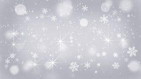 Flocos de neve de prata e fundo abstrato das estrelas Fotos de Stock Royalty Free