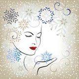 Flocos de neve de sopro da mulher bonita - estilizados ilustração do vetor