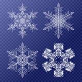 Flocos de neve decorativos ajustados Teste padrão do fundo para Imagens de Stock