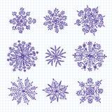 Flocos de neve desenhados mão Foto de Stock