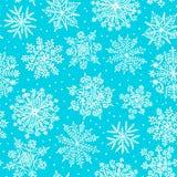 Flocos de neve desenhados mão Teste padrão sem emenda Fotos de Stock