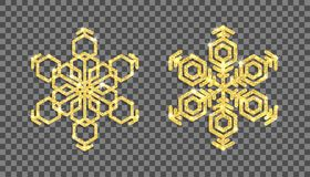 Flocos de neve do brilho do ouro no fundo transparente Vetor Fotografia de Stock