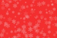 Flocos de neve do inverno no vermelho para o Natal imagens de stock royalty free