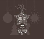 Flocos de neve do Natal e da estrela do ano novo feliz Imagem de Stock