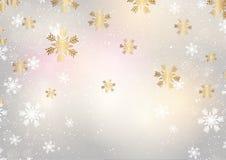 Flocos de neve do Natal em um fundo do ouro ilustração do vetor