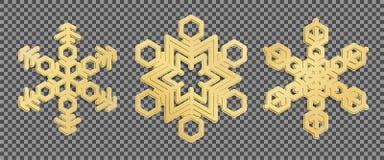 Flocos de neve do ouro 3d no fundo transparente Vetor Fotografia de Stock Royalty Free