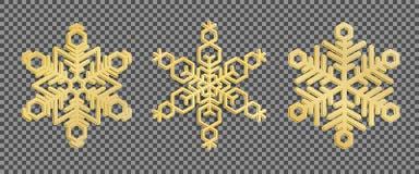 Flocos de neve do ouro 3d no fundo transparente Vetor Fotos de Stock Royalty Free