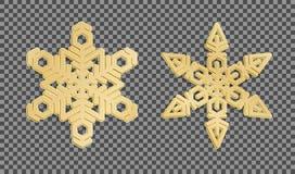 Flocos de neve do ouro 3d no fundo transparente Vetor ilustração stock