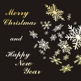 Flocos de neve do ouro do Natal Fotografia de Stock