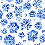 Flocos de neve do teste padrão da aquarela Imagens de Stock Royalty Free