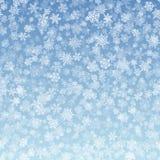 Flocos de neve do vetor que caem no inclinação azul do fundo ilustração stock