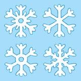 Flocos de neve dos desenhos animados quatro Imagens de Stock