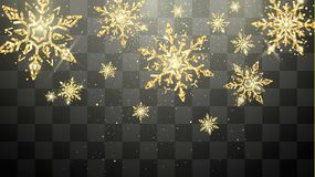 Flocos de neve dourados festivos isolados no fundo transparente Decoração mágica da véspera e do Natal de ano novo Cartão do feri fotos de stock