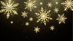 Flocos de neve dourados isolados no fundo escuro Papel de parede mágico da decoração do ano novo e do Natal Bandeira do feriado imagem de stock