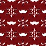 Flocos de neve e bigode repetidos de Santa Claus Teste padrão sem emenda do ano novo Imagens de Stock