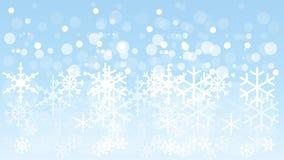 Flocos de neve e céu, flocos de neve e fundo da neve ilustração stock