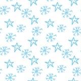 Flocos de neve e estrelas Fotos de Stock Royalty Free