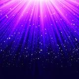 Flocos de neve e estrelas que descem no azul. EPS 8 ilustração do vetor