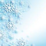 Flocos de neve e estrelas que descem no fundo ilustração royalty free