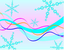 Flocos de neve e fitas azuis Imagem de Stock