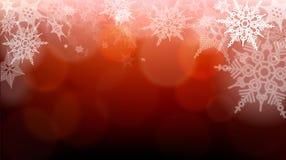 Flocos de neve e luzes obscuras na obscuridade - fundo vermelho Grande contexto para o inverno ou os temas do Natal Espace seu te ilustração stock
