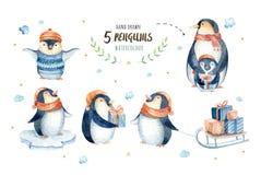 Flocos de neve e pinguins do Feliz Natal Ilustração desenhada mão Fotografia de Stock Royalty Free
