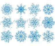 Flocos de neve florais, vetor Fotos de Stock Royalty Free