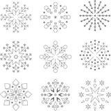 9 flocos de neve, molde, sem emenda, estrelas imagens de stock royalty free