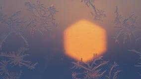 Flocos de neve na janela no tiro do supermacro Fotografia de Stock