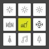 flocos de neve, Natal, o 25 de dezembro, invernos, música, árvore, árvores ilustração stock